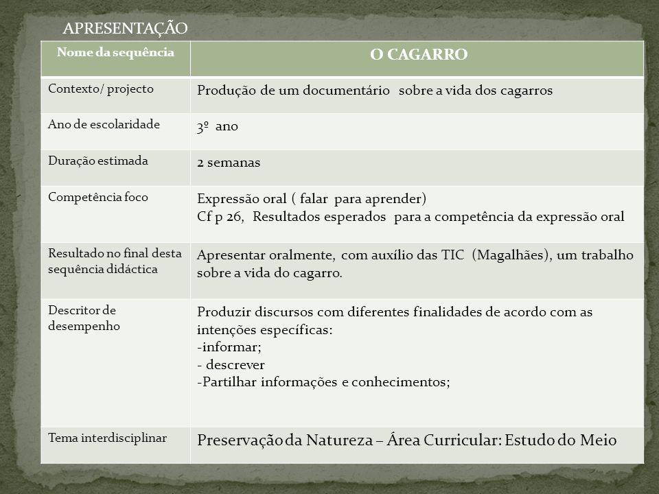 APRESENTAÇÃO Nome da sequência O CAGARRO Contexto/ projecto Produção de um documentário sobre a vida dos cagarros Ano de escolaridade 3º ano Duração e