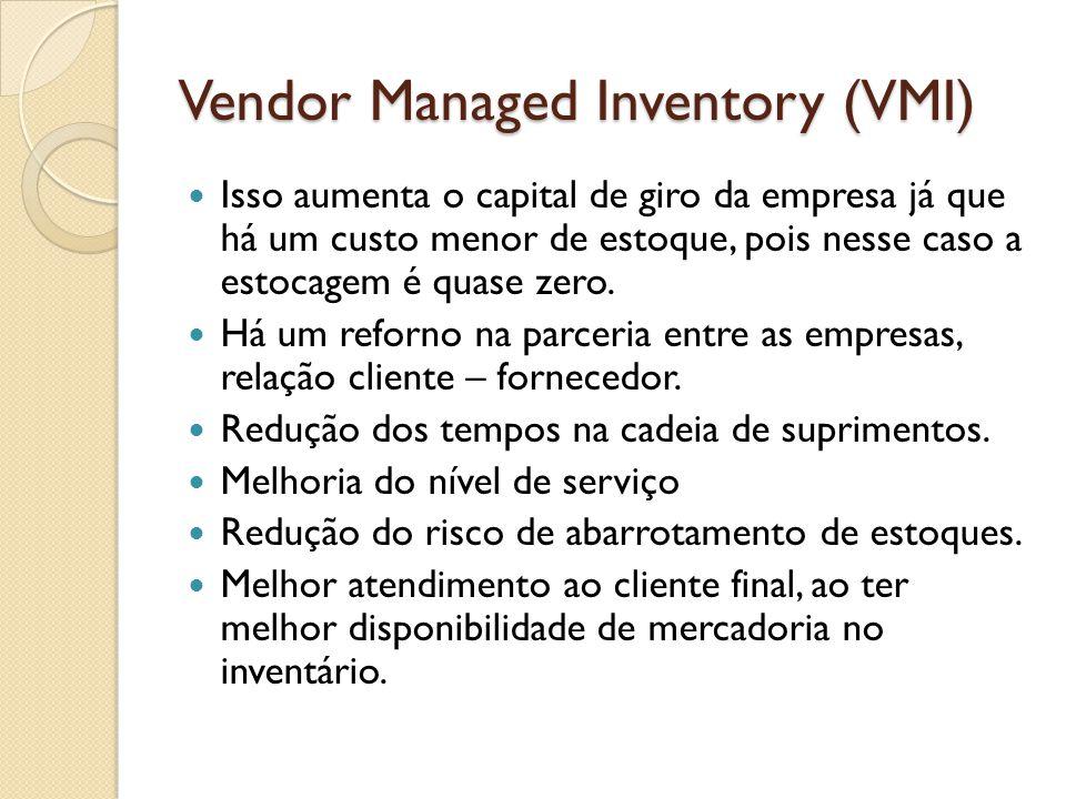 Vendor Managed Inventory (VMI) Isso aumenta o capital de giro da empresa já que há um custo menor de estoque, pois nesse caso a estocagem é quase zero.