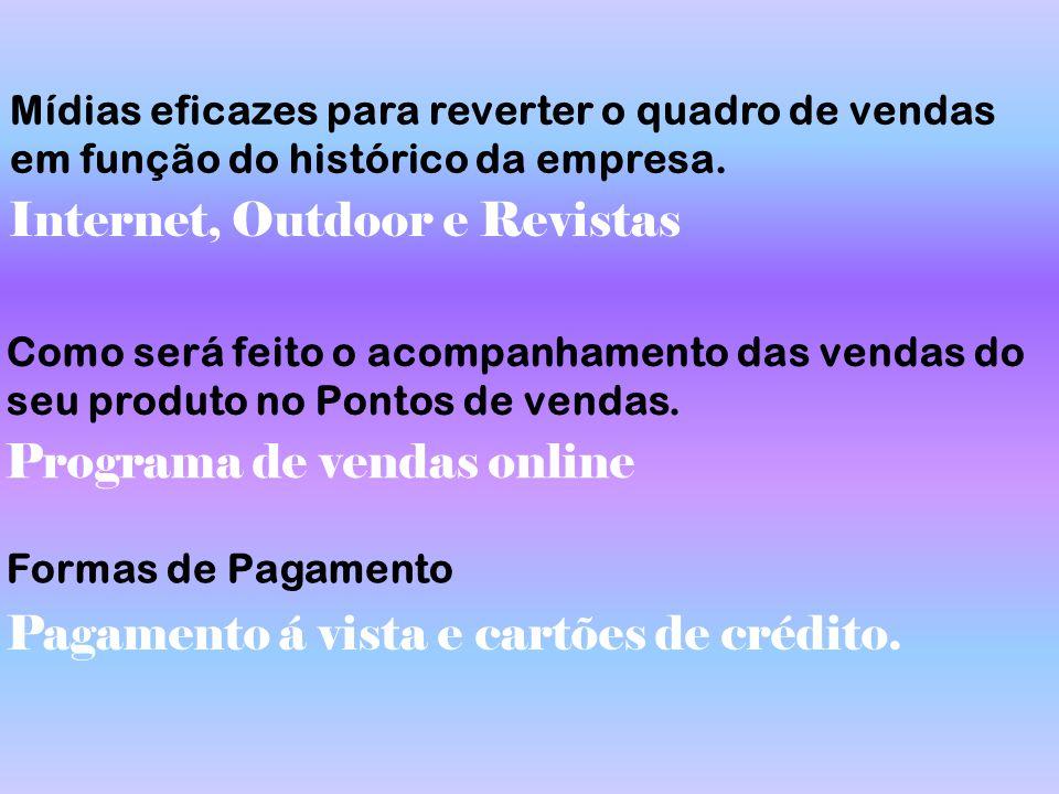 Mídias eficazes para reverter o quadro de vendas em função do histórico da empresa. Internet, Outdoor e Revistas Como será feito o acompanhamento das