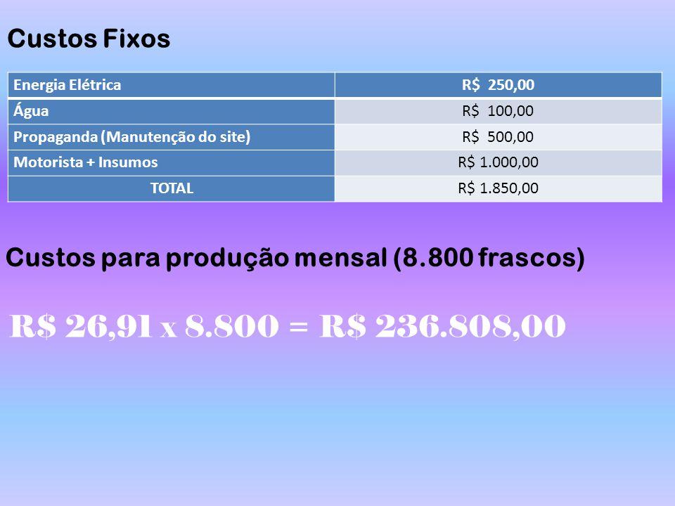 Custos Fixos Energia ElétricaR$ 250,00 ÁguaR$ 100,00 Propaganda (Manutenção do site)R$ 500,00 Motorista + InsumosR$ 1.000,00 TOTALR$ 1.850,00 Custos p