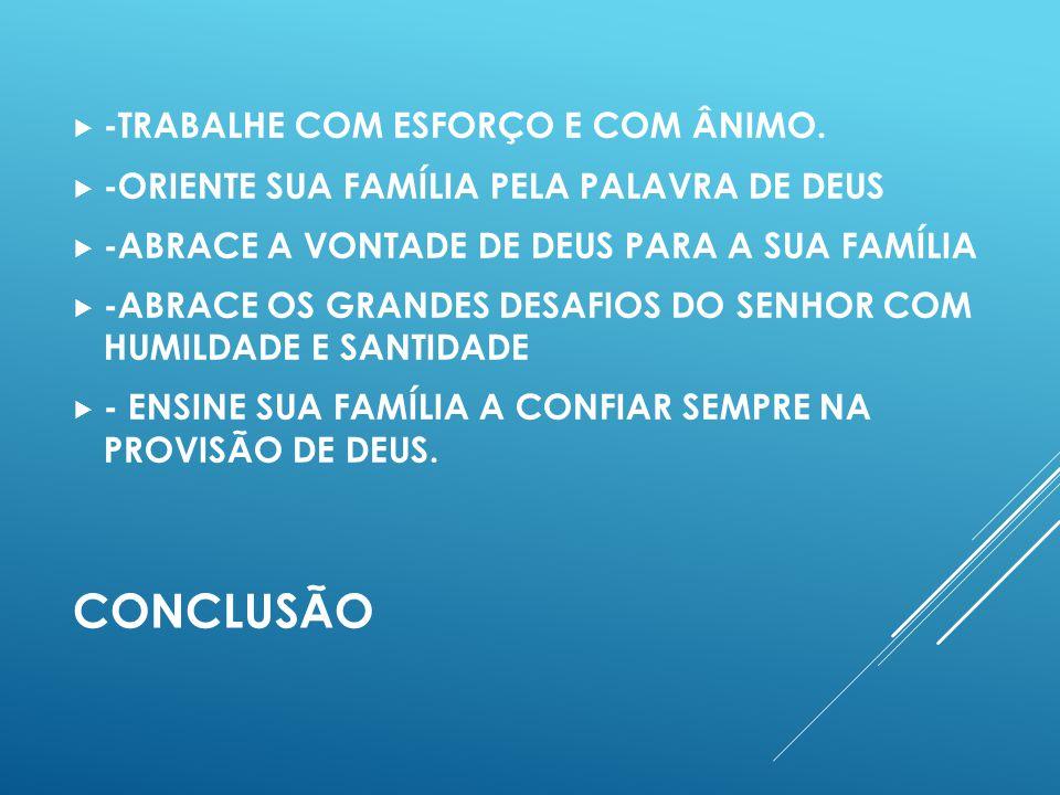 CONCLUSÃO -TRABALHE COM ESFORÇO E COM ÂNIMO.