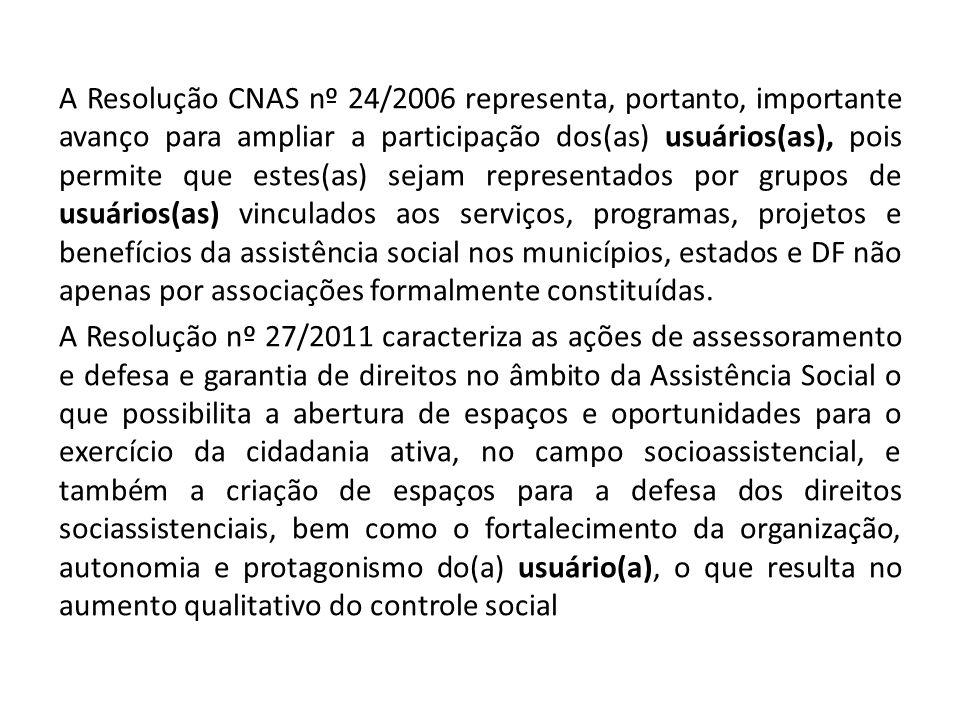 A Resolução CNAS nº 24/2006 representa, portanto, importante avanço para ampliar a participação dos(as) usuários(as), pois permite que estes(as) sejam representados por grupos de usuários(as) vinculados aos serviços, programas, projetos e benefícios da assistência social nos municípios, estados e DF não apenas por associações formalmente constituídas.
