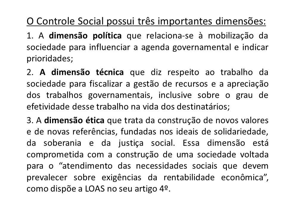 O Controle Social possui três importantes dimensões: 1.