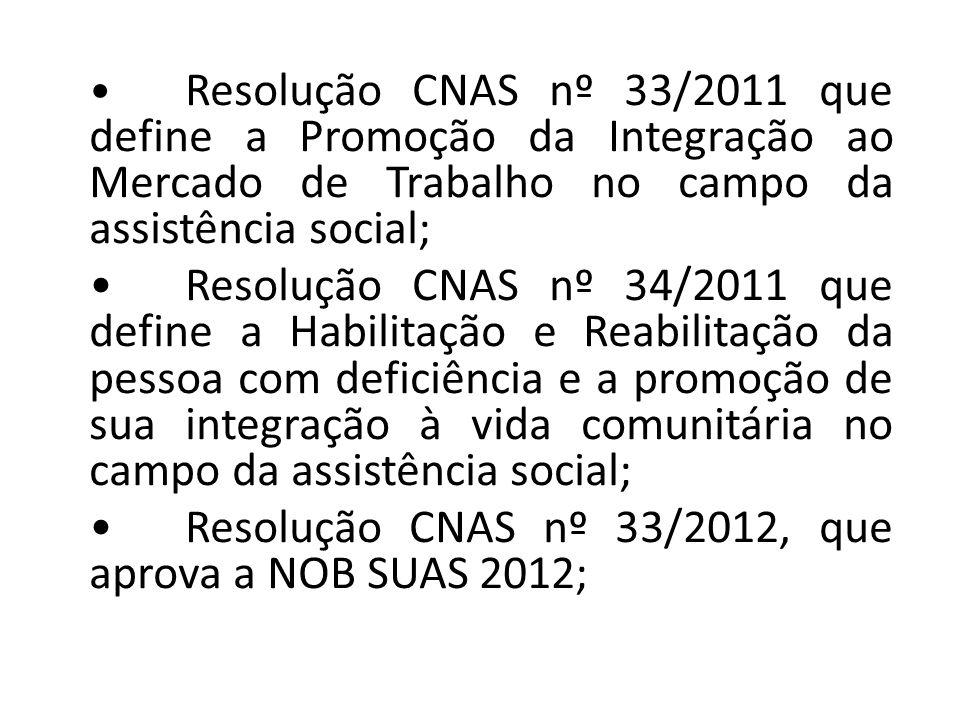 Resolução CNAS nº 33/2011 que define a Promoção da Integração ao Mercado de Trabalho no campo da assistência social; Resolução CNAS nº 34/2011 que define a Habilitação e Reabilitação da pessoa com deficiência e a promoção de sua integração à vida comunitária no campo da assistência social; Resolução CNAS nº 33/2012, que aprova a NOB SUAS 2012;