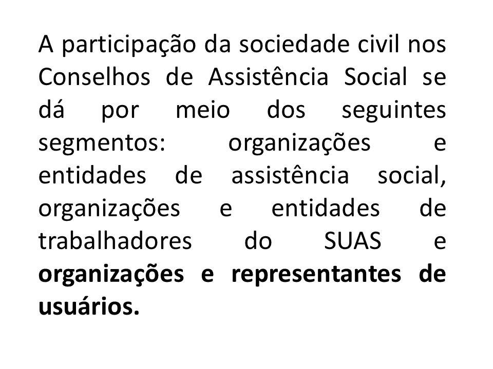 A participação da sociedade civil nos Conselhos de Assistência Social se dá por meio dos seguintes segmentos: organizações e entidades de assistência social, organizações e entidades de trabalhadores do SUAS e organizações e representantes de usuários.