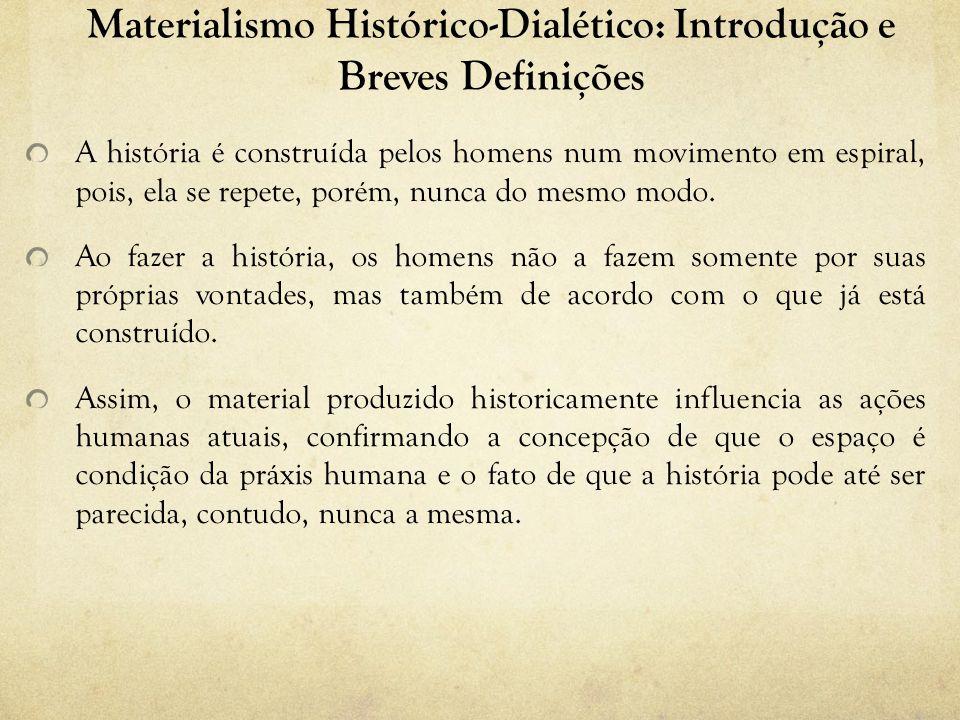 Materialismo Histórico-Dialético: Introdução e Breves Definições A história é construída pelos homens num movimento em espiral, pois, ela se repete, p