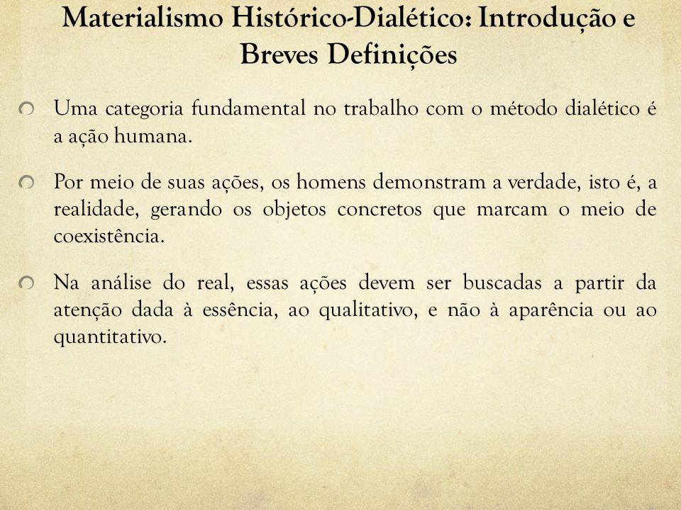 Materialismo Histórico-Dialético: Introdução e Breves Definições Uma categoria fundamental no trabalho com o método dialético é a ação humana.