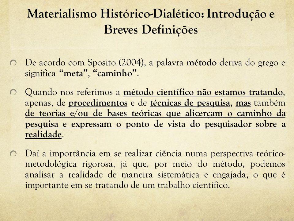 Materialismo Histórico-Dialético: Introdução e Breves Definições De acordo com Sposito (2004), a palavra método deriva do grego e significa meta, caminho.