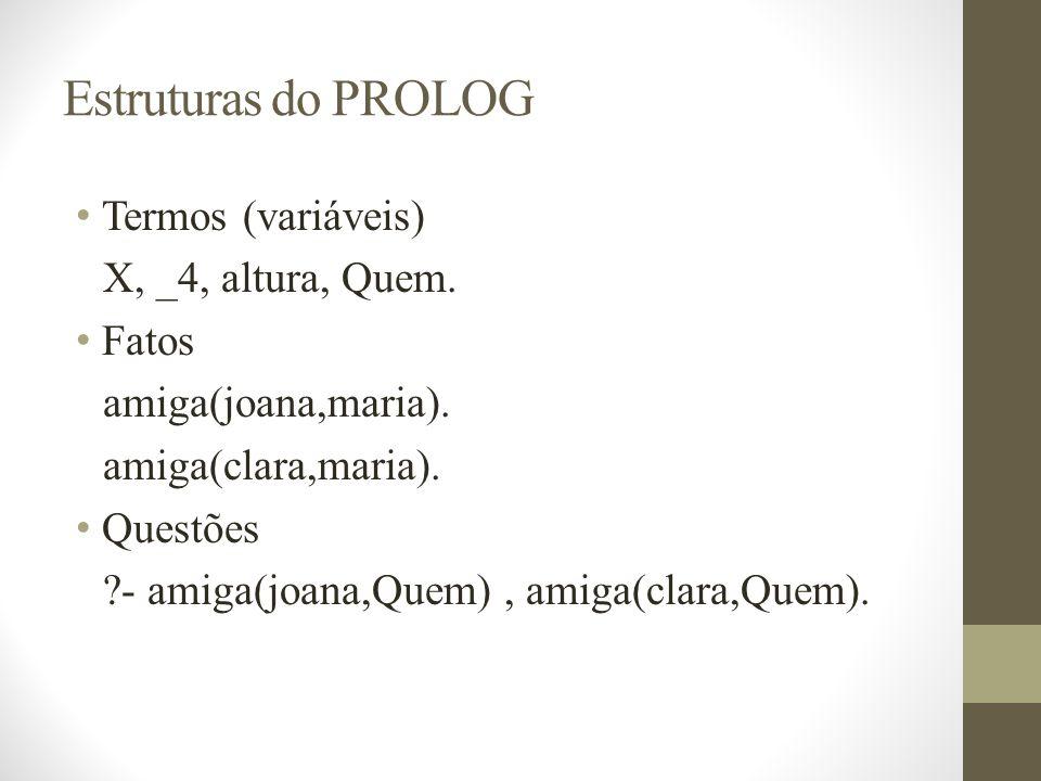 Estruturas do PROLOG Termos (variáveis) X, _4, altura, Quem. Fatos amiga(joana,maria). amiga(clara,maria). Questões ?- amiga(joana,Quem), amiga(clara,