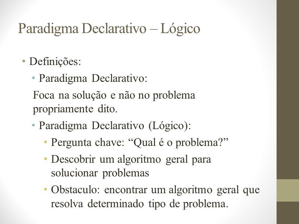 Paradigma Declarativo – Lógico Definições: Paradigma Declarativo: Foca na solução e não no problema propriamente dito. Paradigma Declarativo (Lógico):