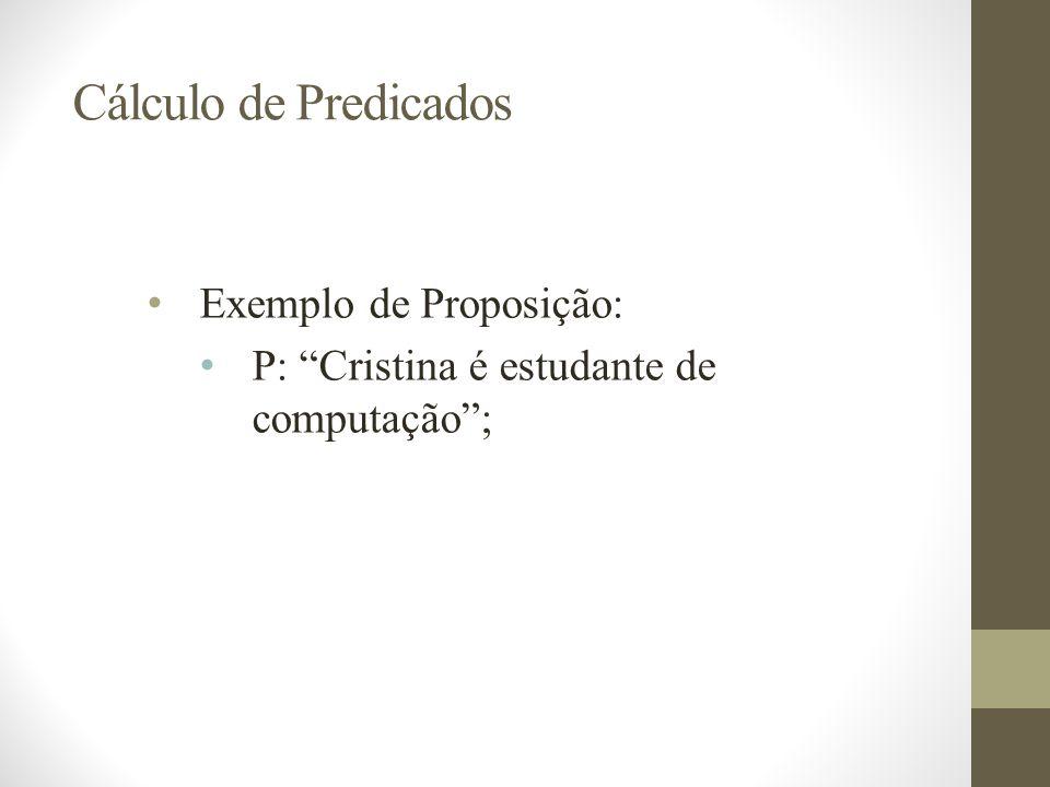 Cálculo de Predicados Exemplo de Proposição: P: Cristina é estudante de computação;