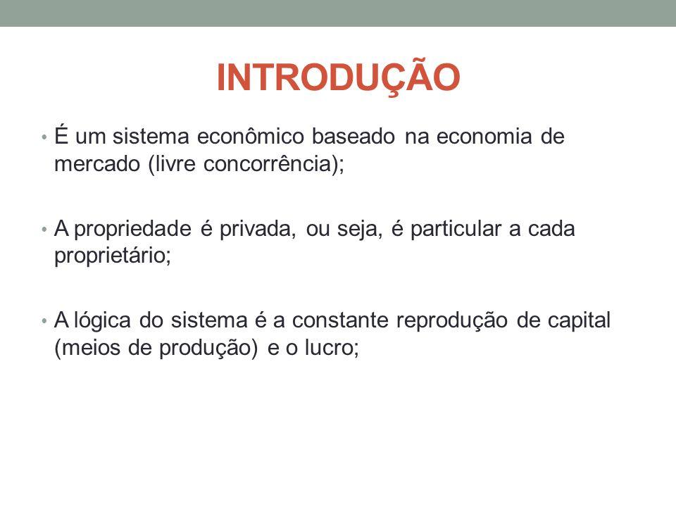 INTRODUÇÃO É um sistema econômico baseado na economia de mercado (livre concorrência); A propriedade é privada, ou seja, é particular a cada proprietá