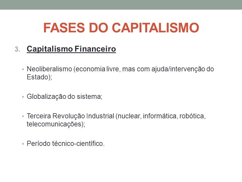 FASES DO CAPITALISMO 3. Capitalismo Financeiro Neoliberalismo (economia livre, mas com ajuda/intervenção do Estado); Globalização do sistema; Terceira