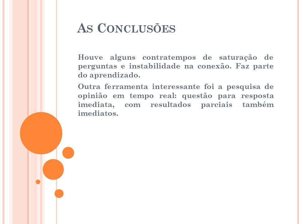 A S C ONCLUSÕES Houve alguns contratempos de saturação de perguntas e instabilidade na conexão.