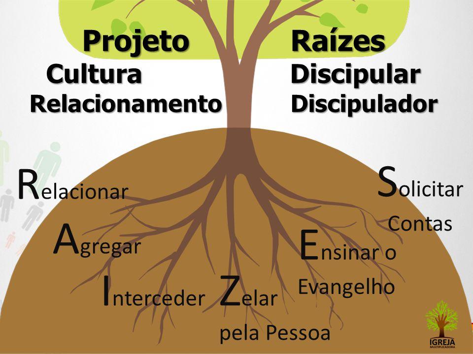 Projeto Raízes Cultura Discipular Relacionamento Discipulador R elacionar A gregar I nterceder Z elar pela Pessoa E nsinar o Evangelho S olicitar Cont