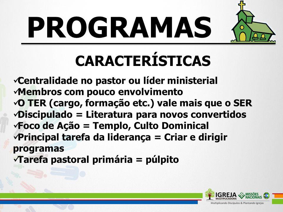 CARACTERÍSTICAS Centralidade no pastor ou líder ministerial Membros com pouco envolvimento O TER (cargo, formação etc.) vale mais que o SER Discipulad