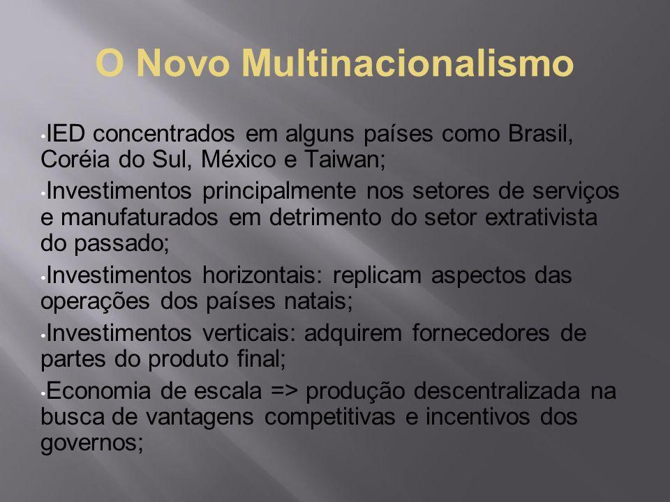 O Novo Multinacionalismo IED concentrados em alguns países como Brasil, Coréia do Sul, México e Taiwan; Investimentos principalmente nos setores de se