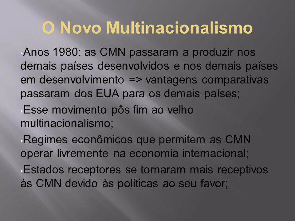 O Novo Multinacionalismo Anos 1980: as CMN passaram a produzir nos demais países desenvolvidos e nos demais países em desenvolvimento => vantagens com