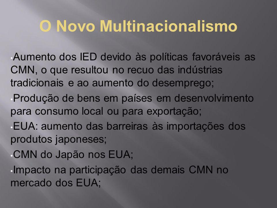 O Novo Multinacionalismo Aumento dos IED devido às políticas favoráveis as CMN, o que resultou no recuo das indústrias tradicionais e ao aumento do de