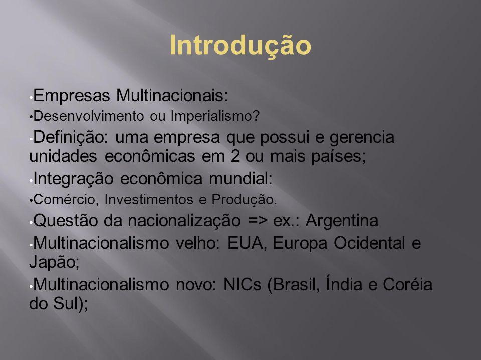 Introdução Empresas Multinacionais: Desenvolvimento ou Imperialismo? Definição: uma empresa que possui e gerencia unidades econômicas em 2 ou mais paí