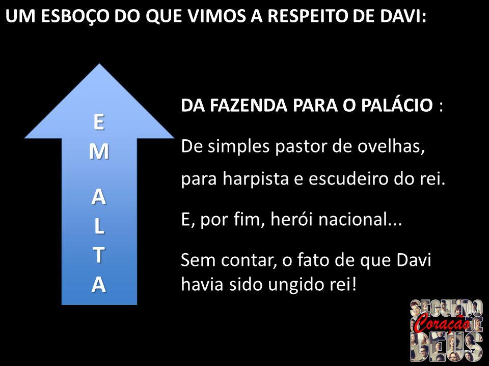 UM ESBOÇO DO QUE VIMOS A RESPEITO DE DAVI: EMALTAEMALTA DA FAZENDA PARA O PALÁCIO : De simples pastor de ovelhas, para harpista e escudeiro do rei. E,