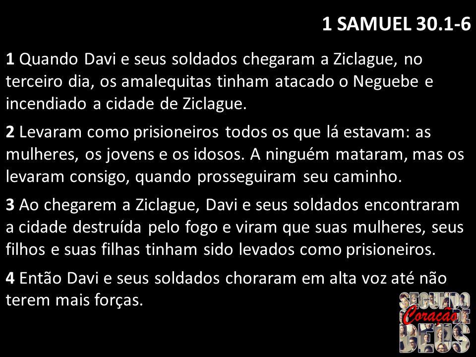 1 SAMUEL 30.1-6 1 Quando Davi e seus soldados chegaram a Ziclague, no terceiro dia, os amalequitas tinham atacado o Neguebe e incendiado a cidade de Z