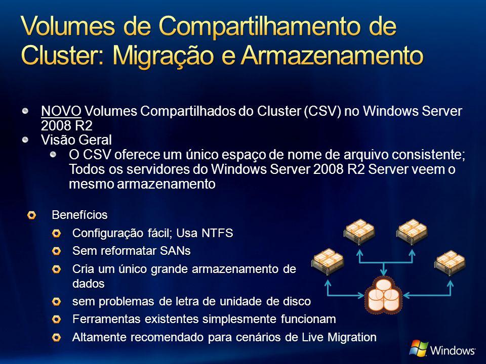 NOVO Volumes Compartilhados do Cluster (CSV) no Windows Server 2008 R2 Visão Geral O CSV oferece um único espaço de nome de arquivo consistente; Todos