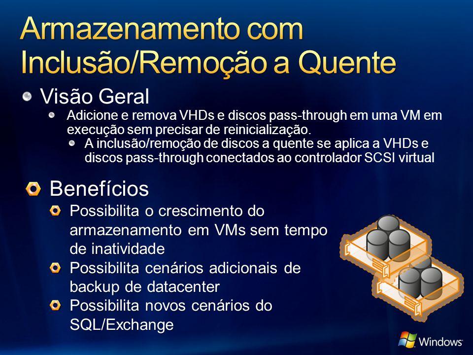 Visão Geral Adicione e remova VHDs e discos pass-through em uma VM em execução sem precisar de reinicialização. A inclusão/remoção de discos a quente