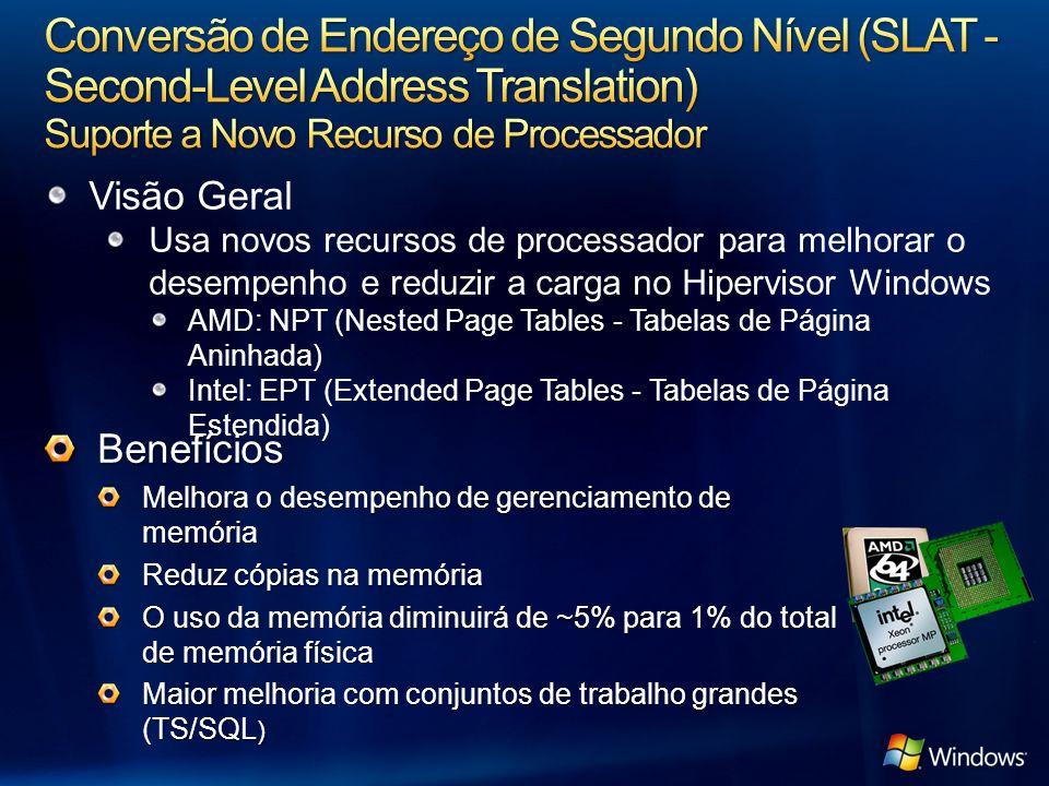 Visão Geral Usa novos recursos de processador para melhorar o desempenho e reduzir a carga no Hipervisor Windows AMD: NPT (Nested Page Tables - Tabela