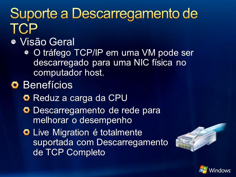Visão Geral O tráfego TCP/IP em uma VM pode ser descarregado para uma NIC física no computador host. Benefícios Reduz a carga da CPU Descarregamento d