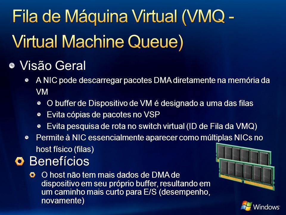 Visão Geral A NIC pode descarregar pacotes DMA diretamente na memória da VM O buffer de Dispositivo de VM é designado a uma das filas Evita cópias de
