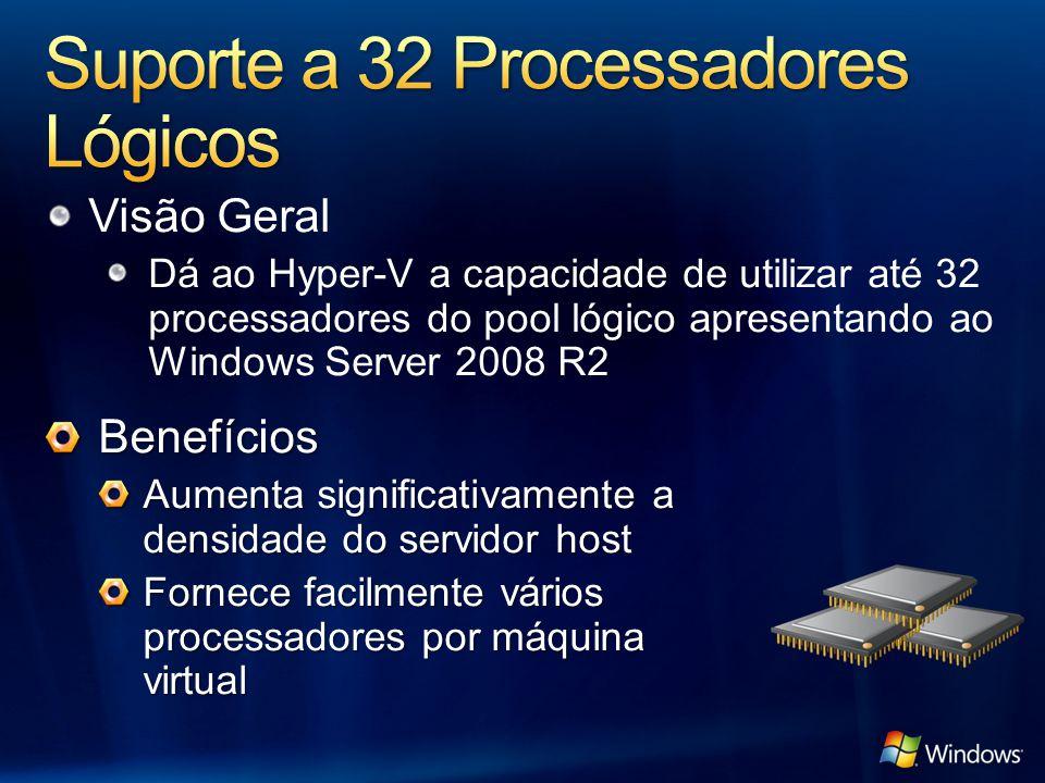 Visão Geral Dá ao Hyper-V a capacidade de utilizar até 32 processadores do pool lógico apresentando ao Windows Server 2008 R2 Benefícios Aumenta signi