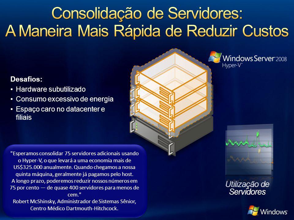 Desafios: Hardware subutilizado Consumo excessivo de energia Espaço caro no datacenter e filiais Utilização de Servidores