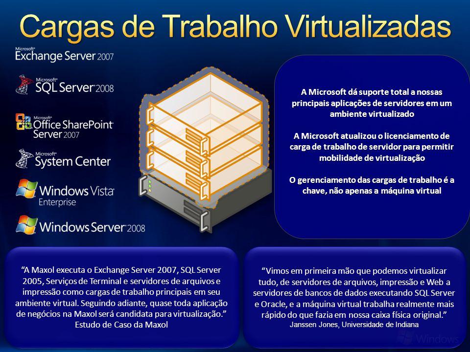 A Maxol executa o Exchange Server 2007, SQL Server 2005, Serviços de Terminal e servidores de arquivos e impressão como cargas de trabalho principais