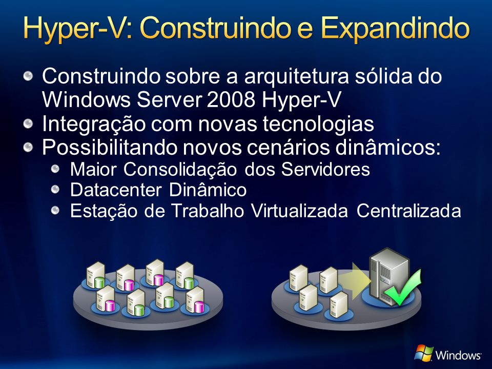 Construindo sobre a arquitetura sólida do Windows Server 2008 Hyper-V Integração com novas tecnologias Possibilitando novos cenários dinâmicos: Maior