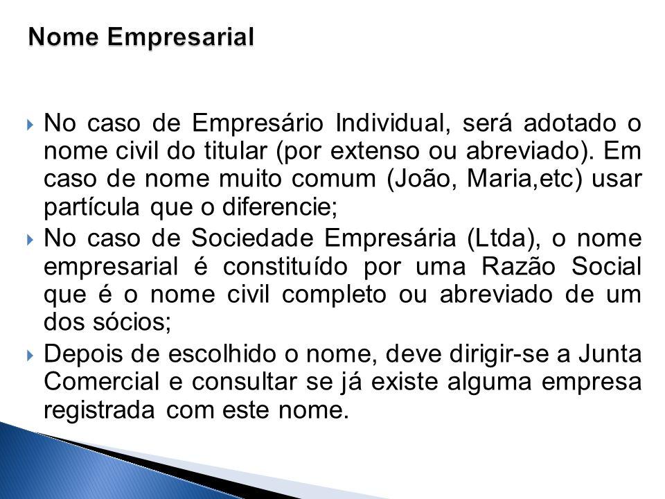 No caso de Empresário Individual, será adotado o nome civil do titular (por extenso ou abreviado). Em caso de nome muito comum (João, Maria,etc) usar