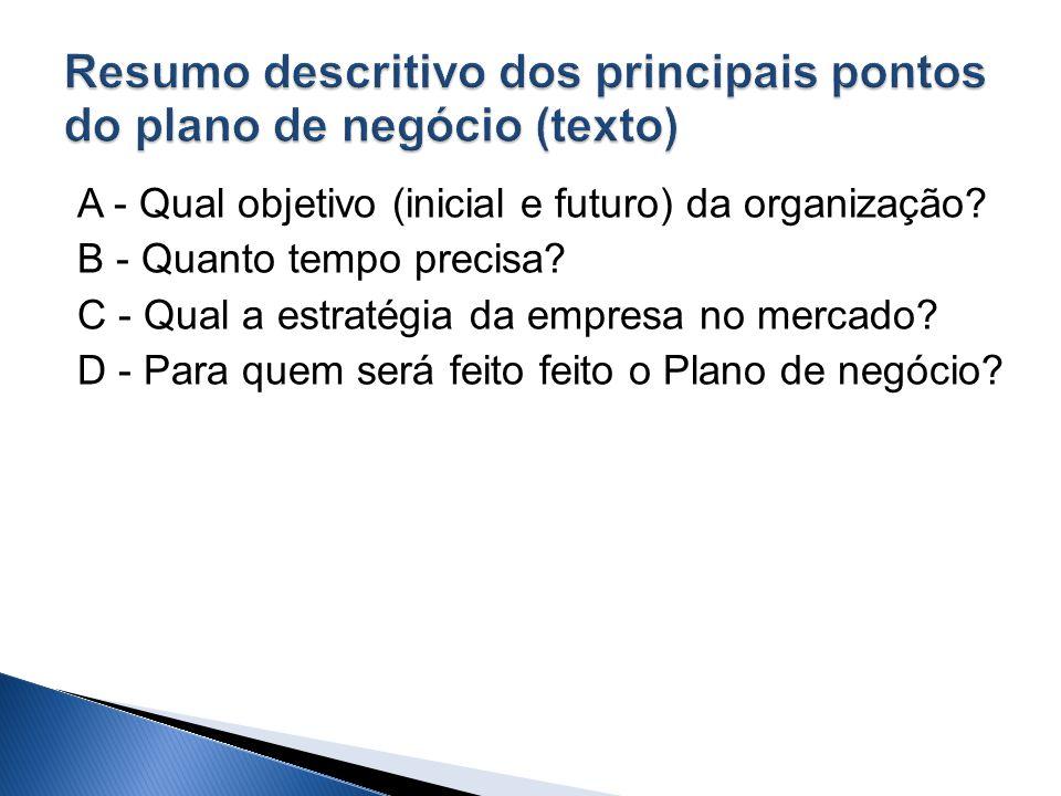 A - Qual objetivo (inicial e futuro) da organização? B - Quanto tempo precisa? C - Qual a estratégia da empresa no mercado? D - Para quem será feito f