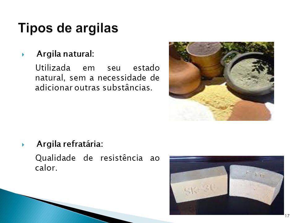 Argila natural: Utilizada em seu estado natural, sem a necessidade de adicionar outras substâncias.