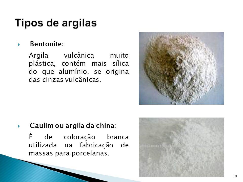 Bentonite: Argila vulcânica muito plástica, contém mais sílica do que alumínio, se origina das cinzas vulcânicas.