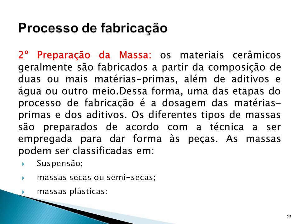 2º Preparação da Massa: os materiais cerâmicos geralmente são fabricados a partir da composição de duas ou mais matérias-primas, além de aditivos e água ou outro meio.Dessa forma, uma das etapas do processo de fabricação é a dosagem das matérias- primas e dos aditivos.