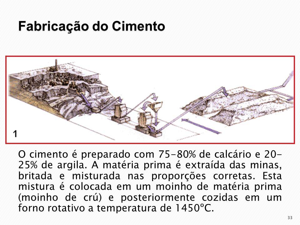 33 O cimento é preparado com 75-80% de calcário e 20- 25% de argila.