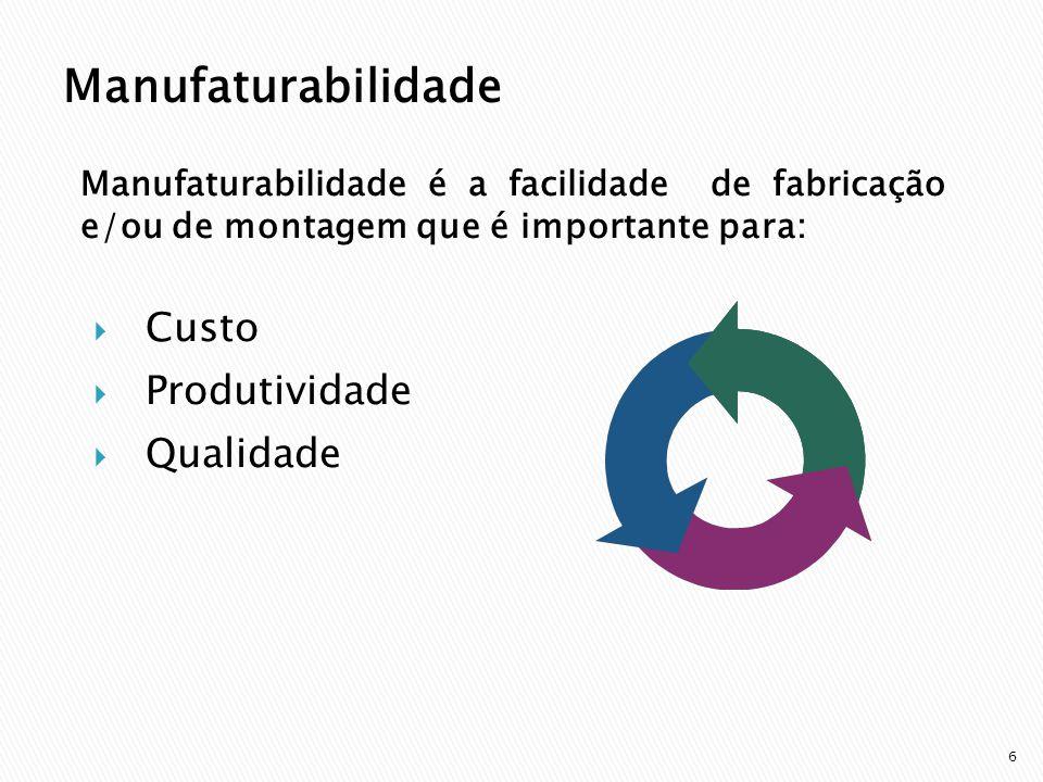 6 Manufaturabilidade é a facilidade de fabricação e/ou de montagem que é importante para: Custo Produtividade Qualidade