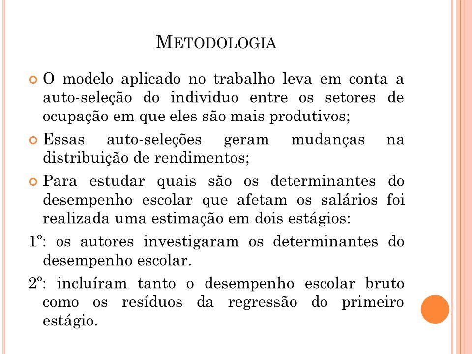 M ETODOLOGIA O modelo aplicado no trabalho leva em conta a auto-seleção do individuo entre os setores de ocupação em que eles são mais produtivos; Ess