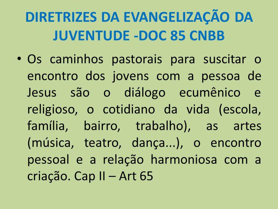 DIRETRIZES DA EVANGELIZAÇÃO DA JUVENTUDE -DOC 85 CNBB Os caminhos pastorais para suscitar o encontro dos jovens com a pessoa de Jesus são o diálogo ec