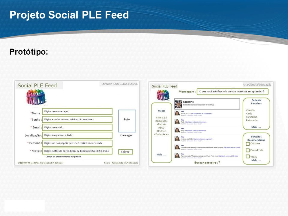 Page 11 Projeto Social PLE Feed Protótipo: