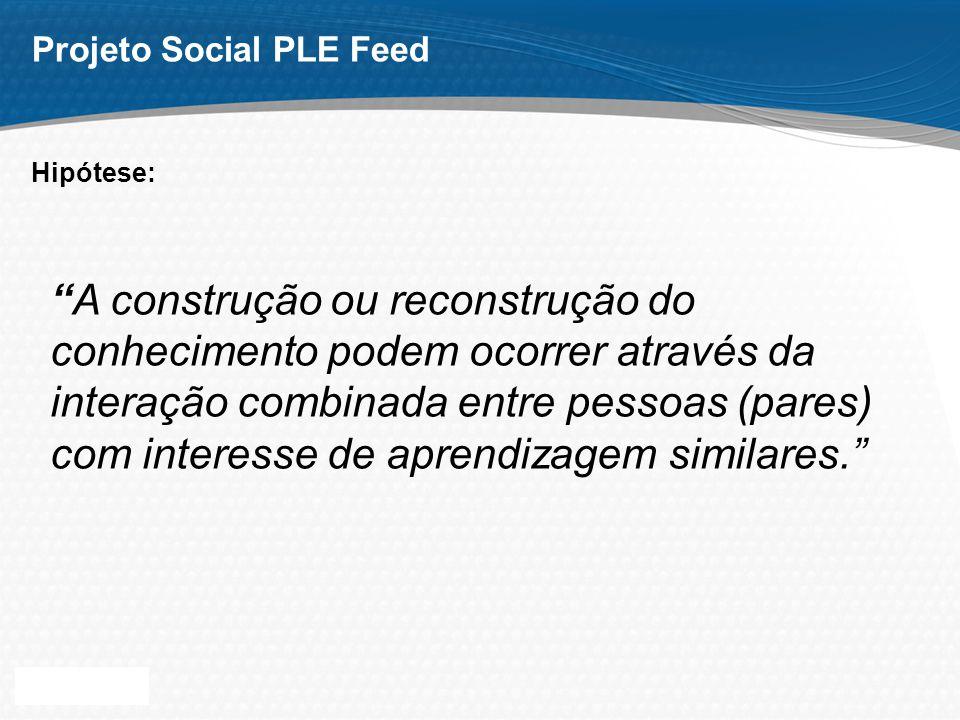 Page 3 Projeto Social PLE Feed A construção ou reconstrução do conhecimento podem ocorrer através da interação combinada entre pessoas (pares) com interesse de aprendizagem similares.