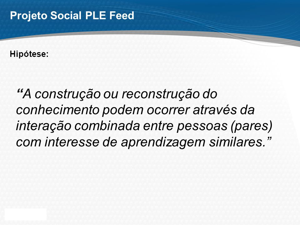 Page 14 Projeto Social PLE Feed Protótipo: