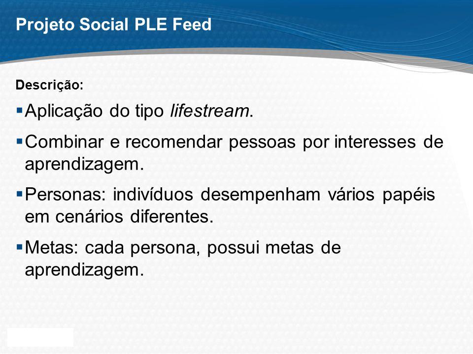 Page 4 Projeto Social PLE Feed Aplicação do tipo lifestream. Combinar e recomendar pessoas por interesses de aprendizagem. Personas: indivíduos desemp