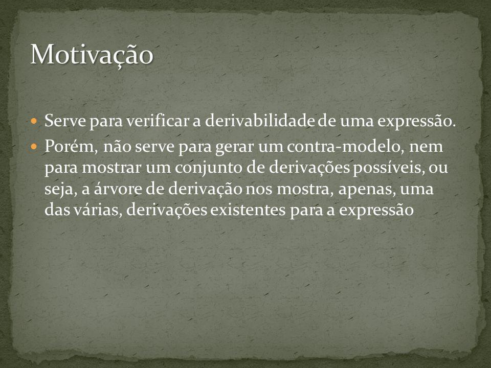 Serve para verificar a derivabilidade de uma expressão. Porém, não serve para gerar um contra-modelo, nem para mostrar um conjunto de derivações possí
