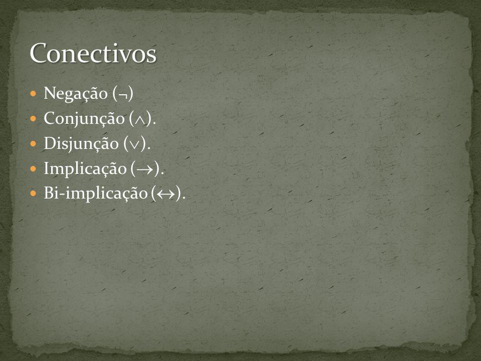 Negação (¬) Conjunção ( ). Disjunção ( ). Implicação ( ). Bi-implicação ( ).